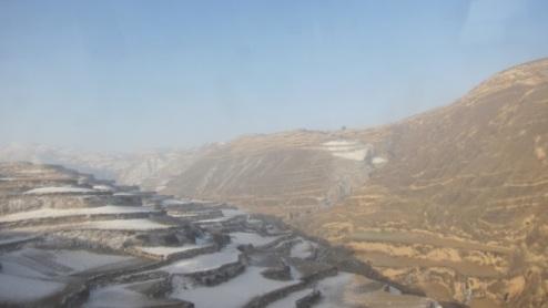 snowy terraces near Lanzhou, Gansu