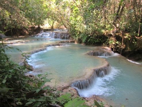 milky-blue rock pools at Kuang Si