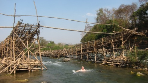 bamboo fishing rigs designed  to ensnare a rainy season catch