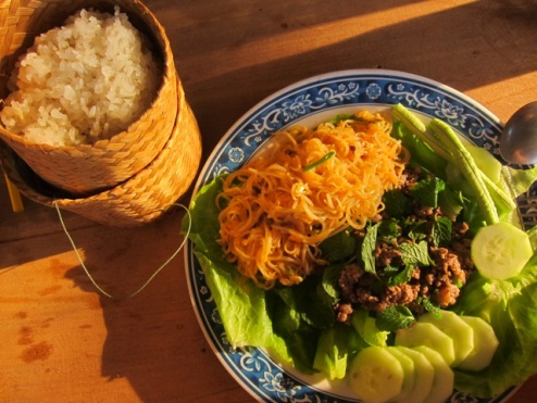 a delicious meal of 'laap', the nation dish of Laos