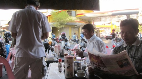 morning coffee and newspaper, Phnom Penh
