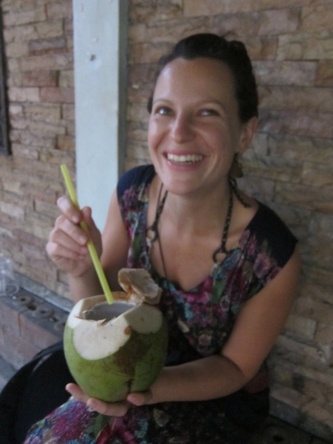 rehydrating with a sweet fresh coconut