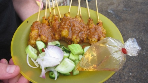 moo satay on our very own plastic plate
