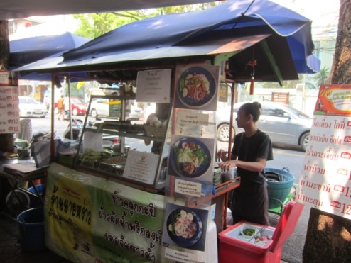 Kraw koo ka pi stall on Th Phra Athit, Banglamphu