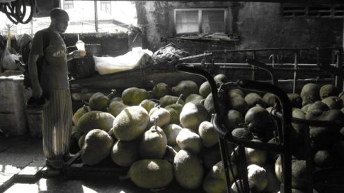 Richie ogles the jackfruits in the market... eyes as big as saucers
