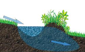 graphic demonstrating the principle of how swales help  water to plume and sink into the landscape