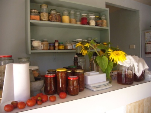 Store your whole foods and preserves somewhere where you can see them. Celebrate 'abundance'!